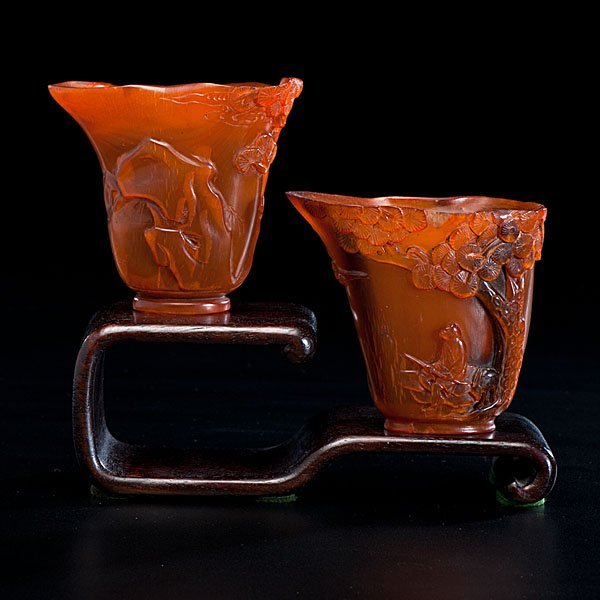 18: Pair of Chinese Horn Wine Cups on Stand