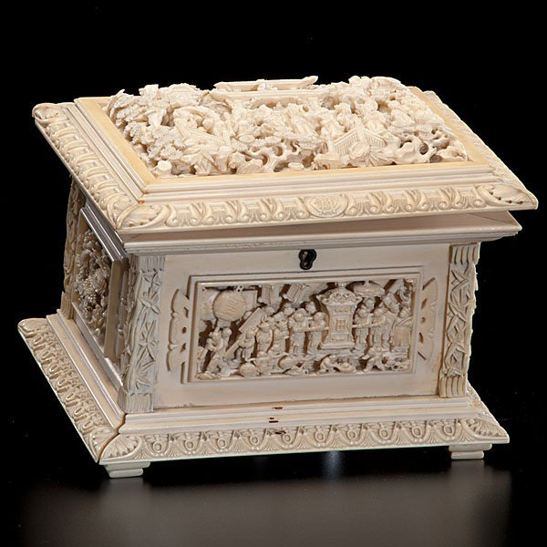 176: Fine Chinese Carved Ivory Jewelry Box