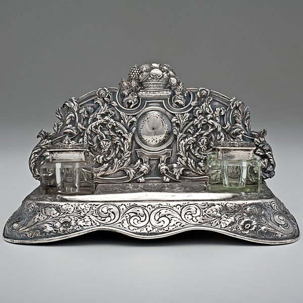 Sterling Silver and Crystal Desk Standish