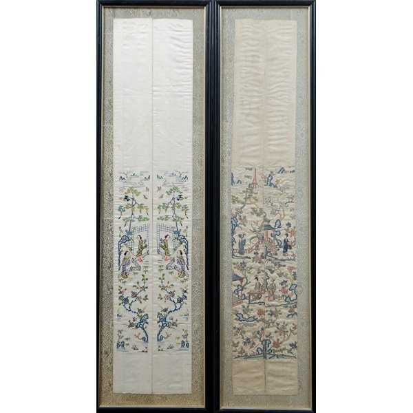 """Chinese """"Blind Stitch"""" Embroidered Wall Hangings"""
