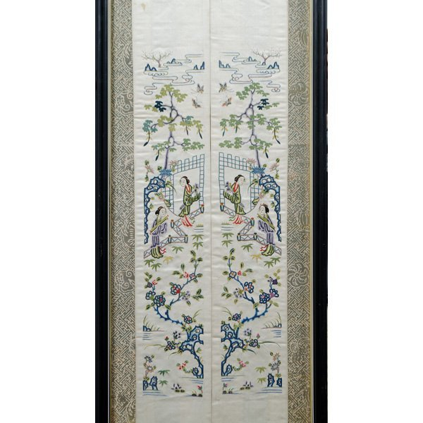 """Chinese """"Blind Stitch"""" Embroidered Wall Hangings - 3"""