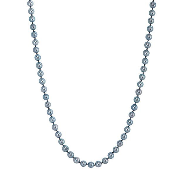 Ladies 14 Karat White Gold 7-7.5mm Blue Pearl Necklace