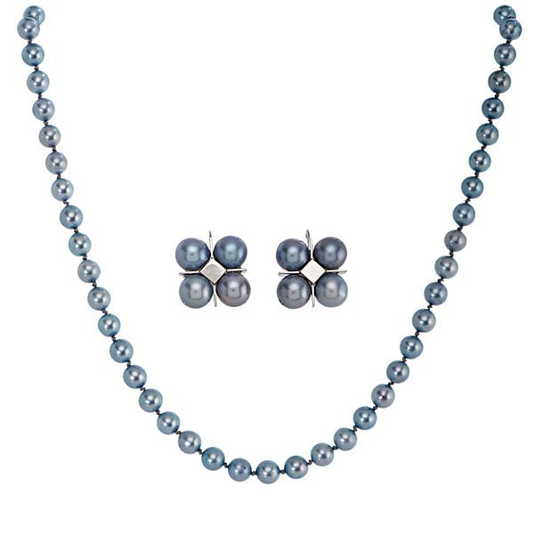 Ladies 14 Karat White Gold Blue Pearl Necklace and Earr
