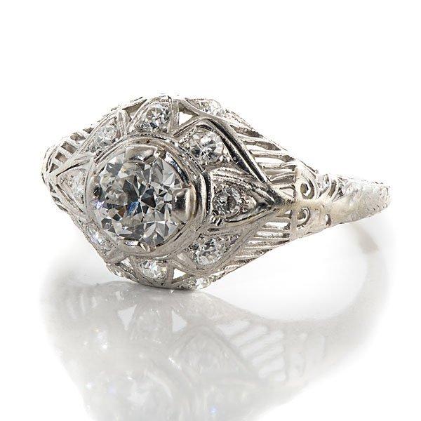 Ladies Platinum and Diamond Antique Filigree Ring