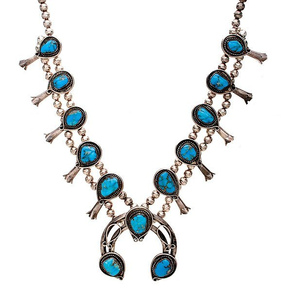 Navajo Turquoise and Silver Squash Blossom Necklace