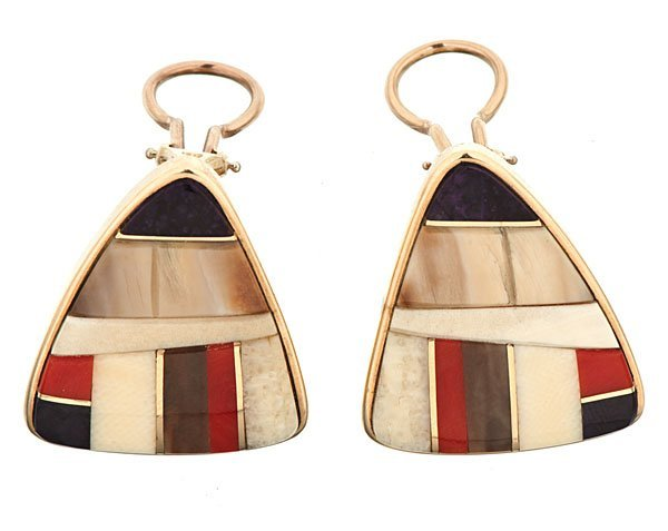 Charles Loloma (1921-1992) Hopi Inlaid Earrings