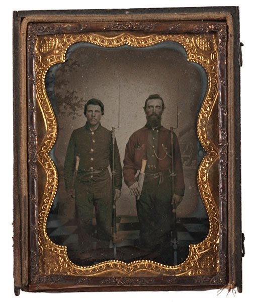 Quarter Plate Ambrotype of Armed Rebels, SC