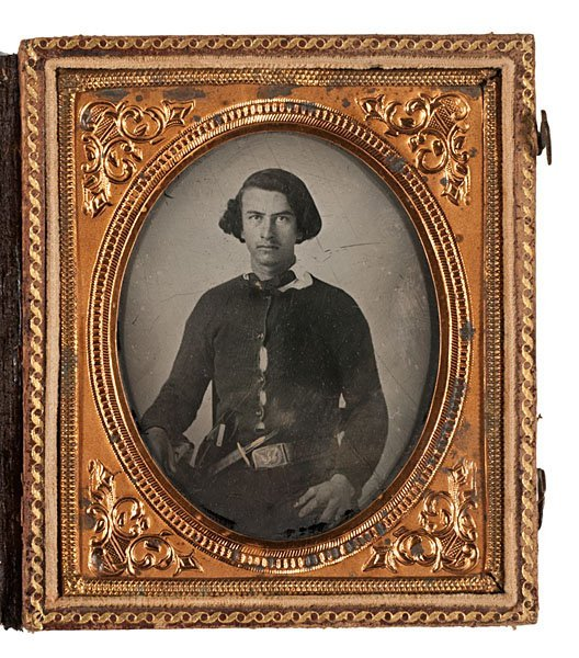 Civil War Ambrotype of Early Double-Armed Volunteer