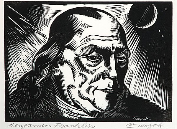 Benjamin Franklin Series of Woodcuts by Charles Turzak  - 6