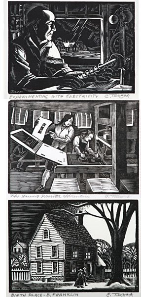 Benjamin Franklin Series of Woodcuts by Charles Turzak  - 7