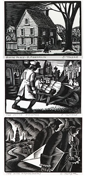 Benjamin Franklin Series of Woodcuts by Charles Turzak  - 8