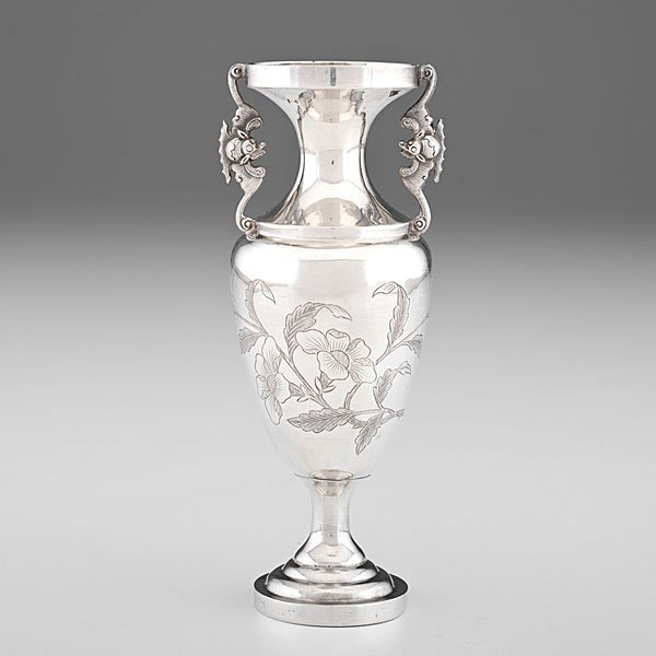 Chinese Export Silver Urn Form Vase