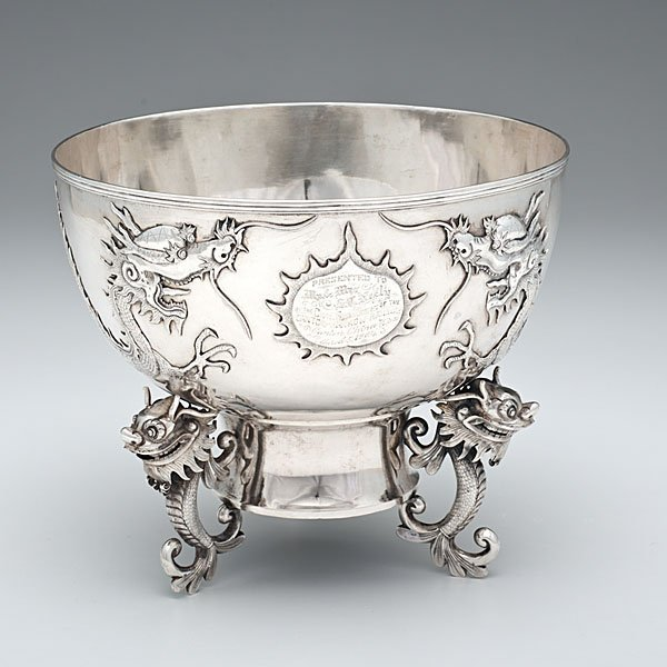 Chinese Export Silver Presentation Bowl with Dragons