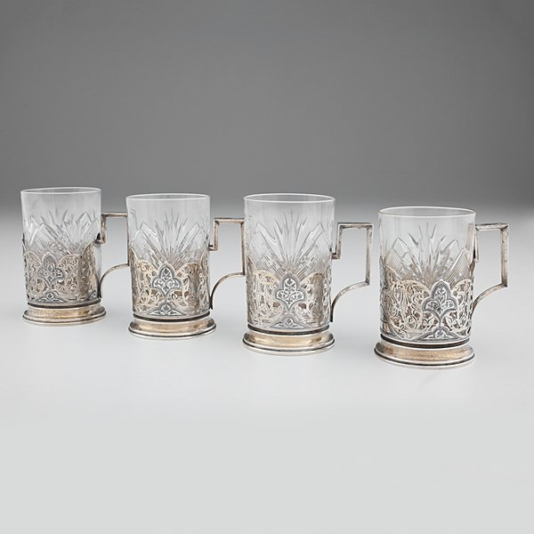 Russian Silver Tea Glass Holders with Cut Glass