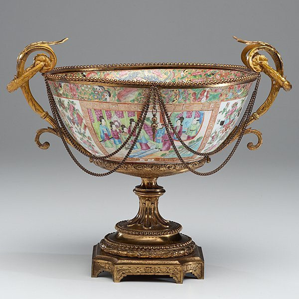 Chinese Export Bowl with Ormolu Mounts