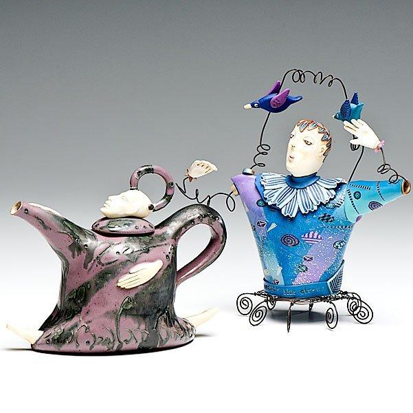 Pair of Figural Teapots