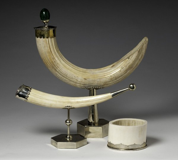 Ivory Tusk and Brass Decorative Displays