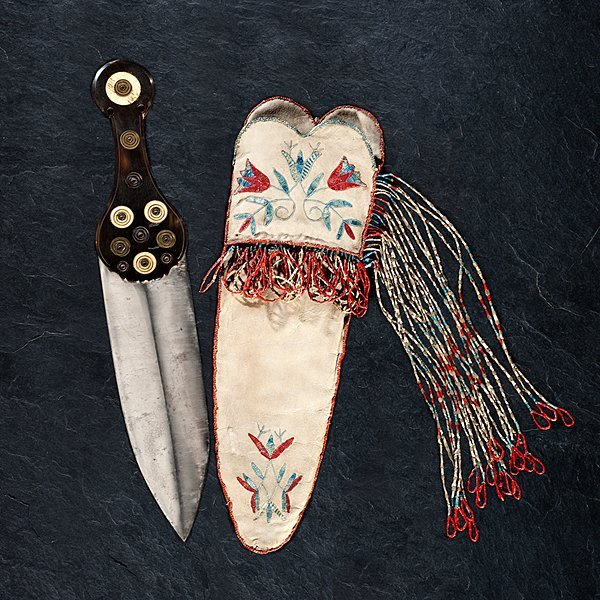 Red River Metis Quilled Hide Knife Sheath with Dag