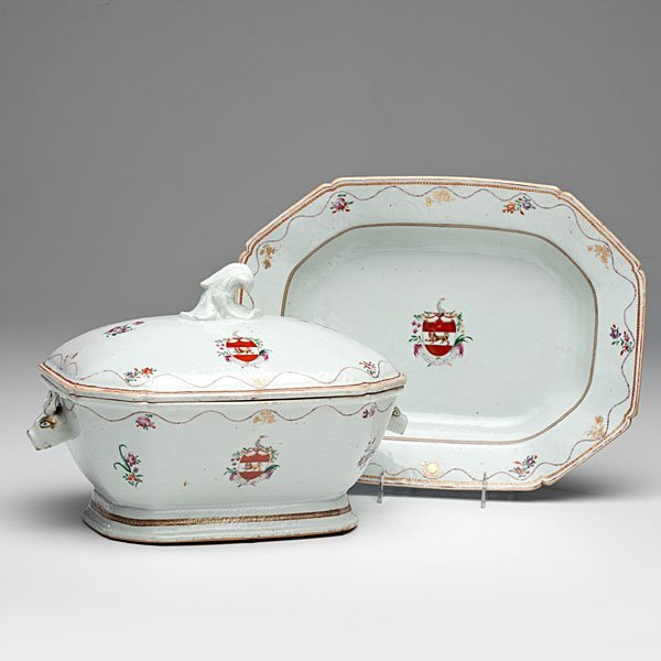 Chinese Export Armorial Famille Rose Tureen and Tray