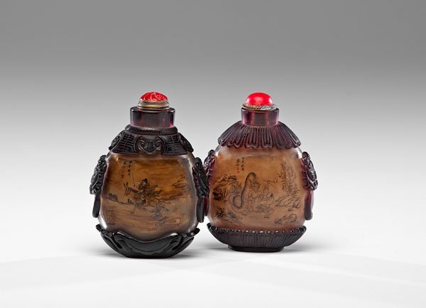 A Pair of Chinese Export Inside-Painted Bottles