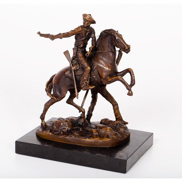 Bronze Sculpture of Cowboys and a Bucking Horse