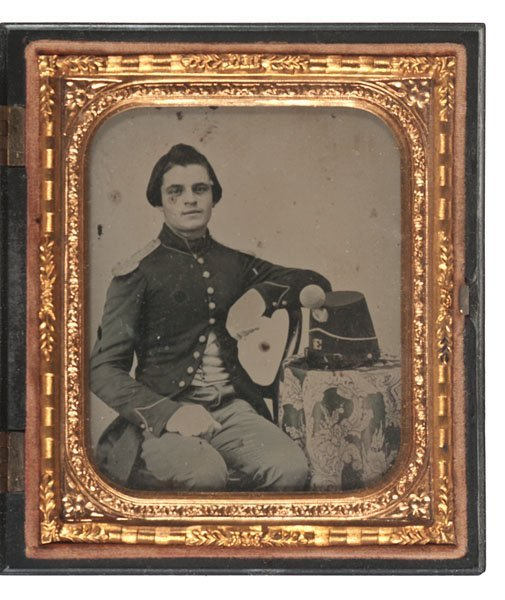Sixth Plate Ambrotype of a Soldier Posed with his