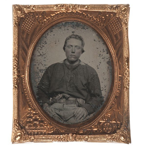Sixth Plate Tintype of an Armed Confederate