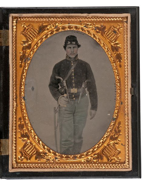 Civil War Quarter Plate Tintype of a Heavily Armed