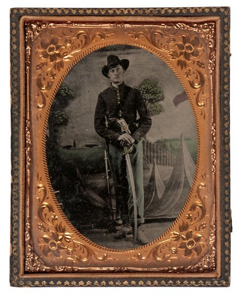 Civil War Quarter Plate Tintype of a Soldier Armed with