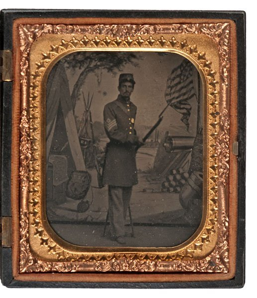 Civil War Sixth Plate Tintype of an Armed Sergeant