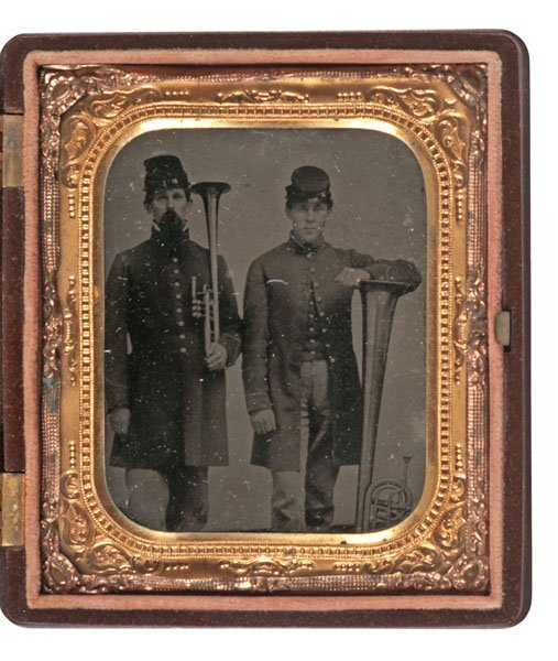 Sixth Plate Tintype of Two Union Musicians