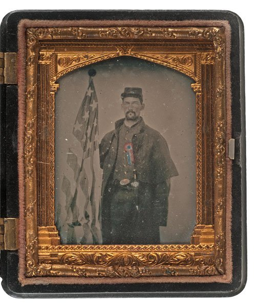 Civil War Ninth Plate Ambrotype of a Soldier Posed With