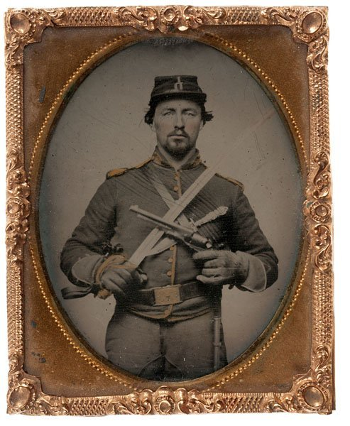 Civil War Ninth Plate Tintype of a Triple Armed