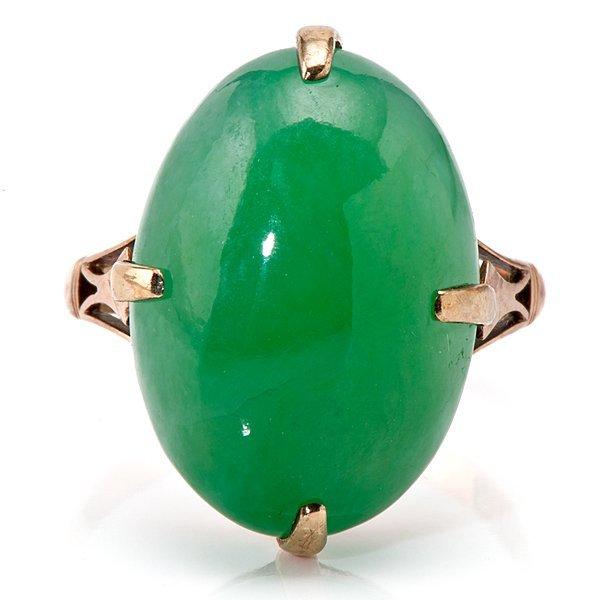 Ladies Oval 18 Karat Rose Gold Jadeite Ring