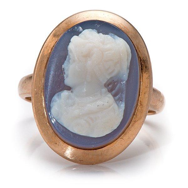 Ladies 14 Karat Rose Gold Lavender Cameo Ring