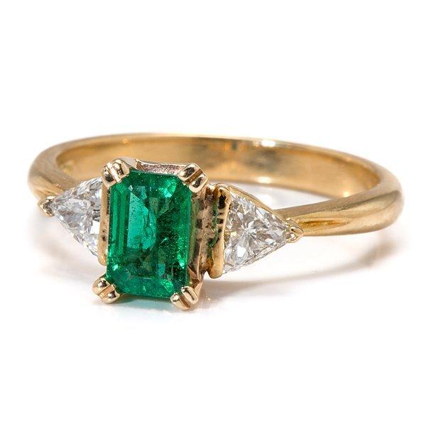 Ladies 18 Karat Yellow Gold Emerald and Diamond Three
