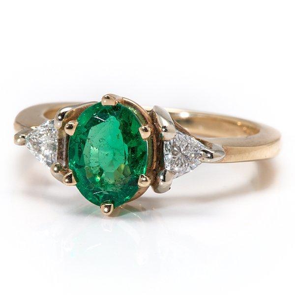 Ladies 14 Karat Yellow Gold Emerald and Diamond Three