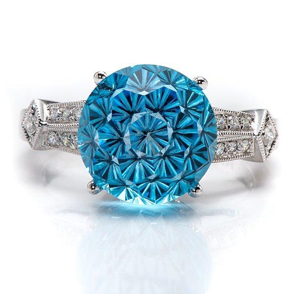 Ladies Contemporary Blue Topaz and Diamond Ring