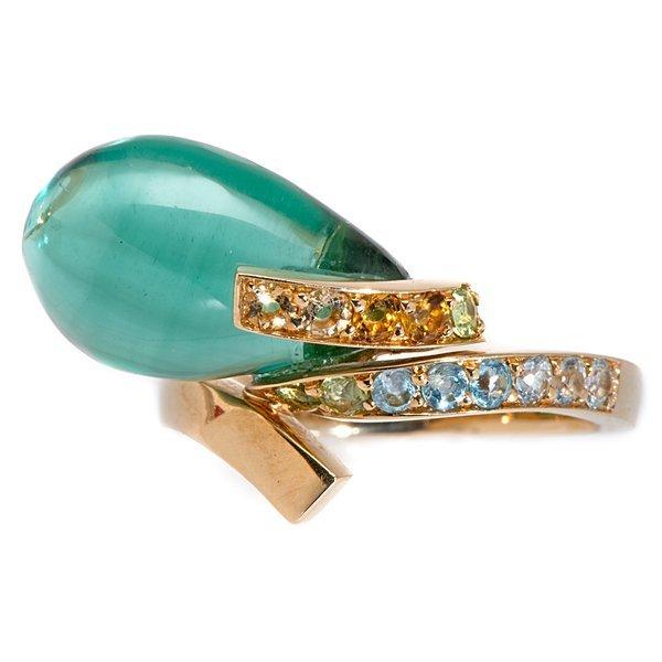 Louis Feraud Green Quartz and Sapphire Ring