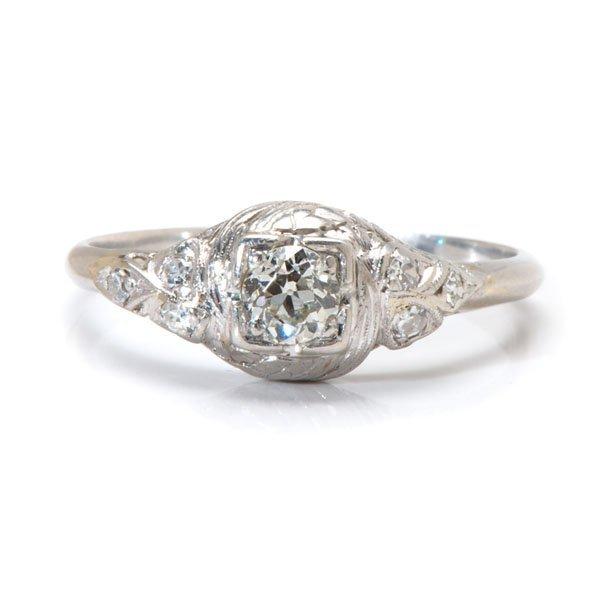 Ladies Platinum Antique Engagement Ring