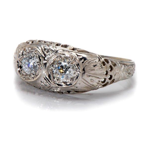 Ladies Antique Two-Diamond Filigree Ring