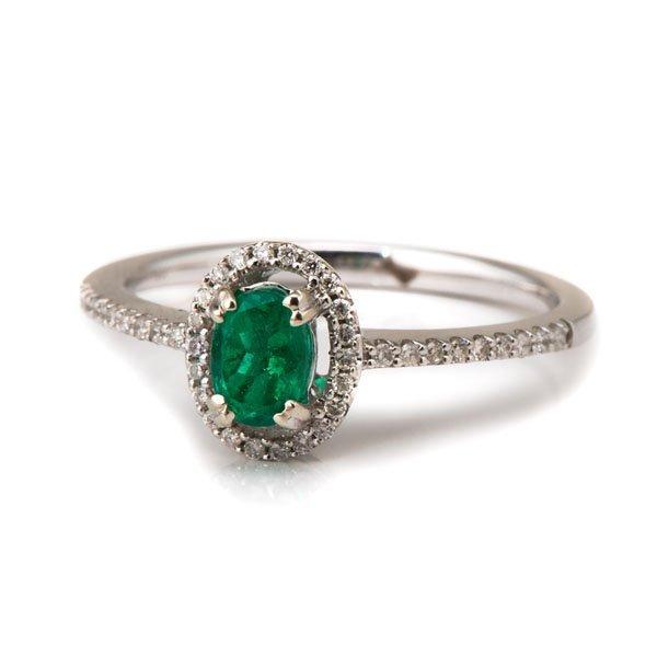 Ladies 14 Karat White Gold Emerald and Diamond Ring