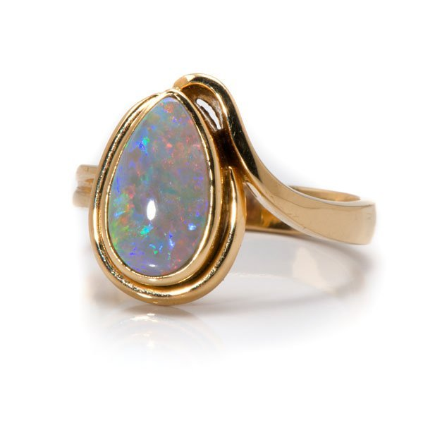 Ladies 18 Karat Yellow Gold Bezel-Set Opal Ring