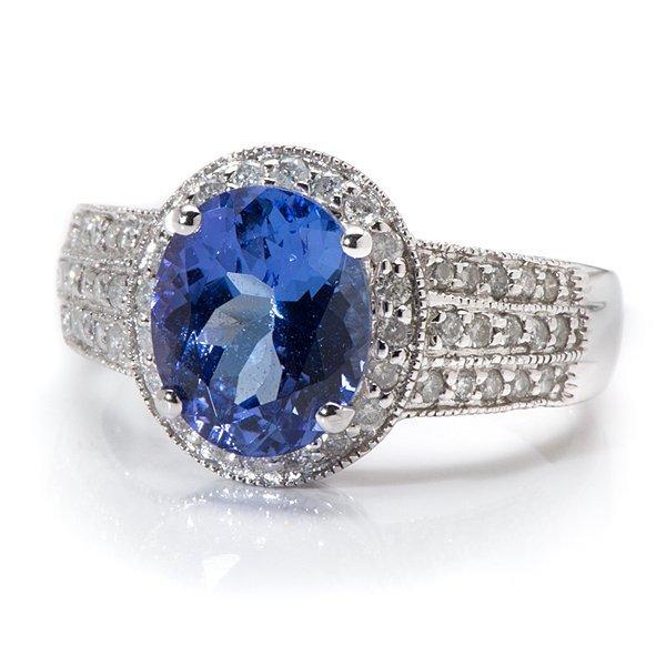 Ladies 14 Karat White Gold Tanzanite and Diamond Ring