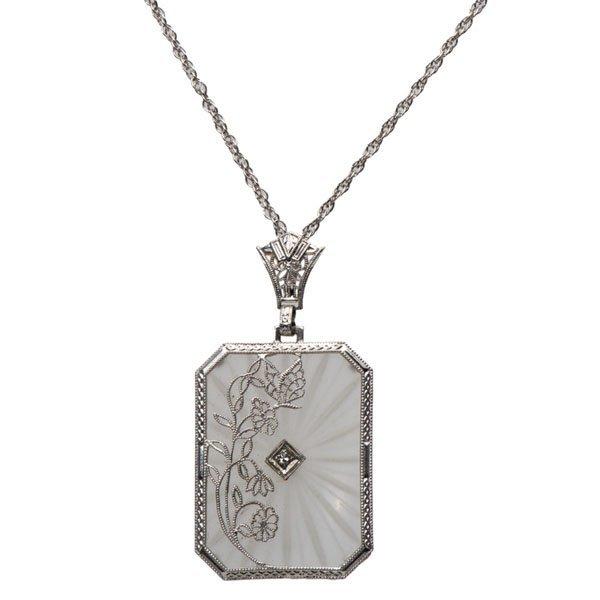 Ladies 14 Karat White Gold Rock Crystal and Diamond