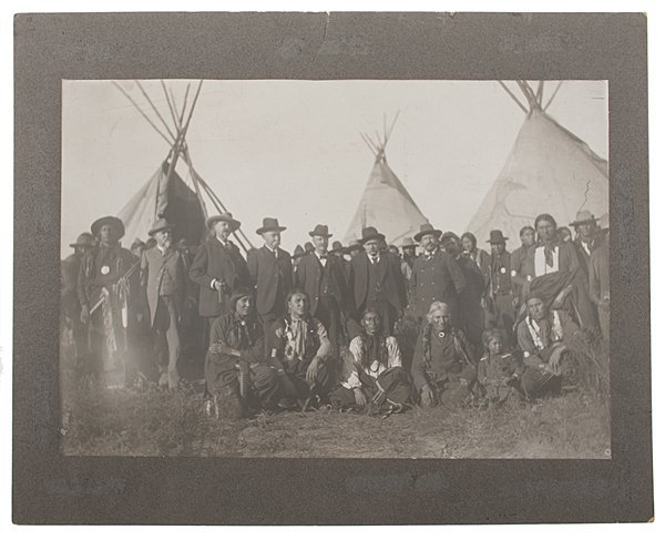 William F. Cody and Sioux Indians (At Pine Ridge?)