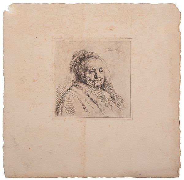 Rembrandt's Mother, Etching by Rembrandt Van Rijn
