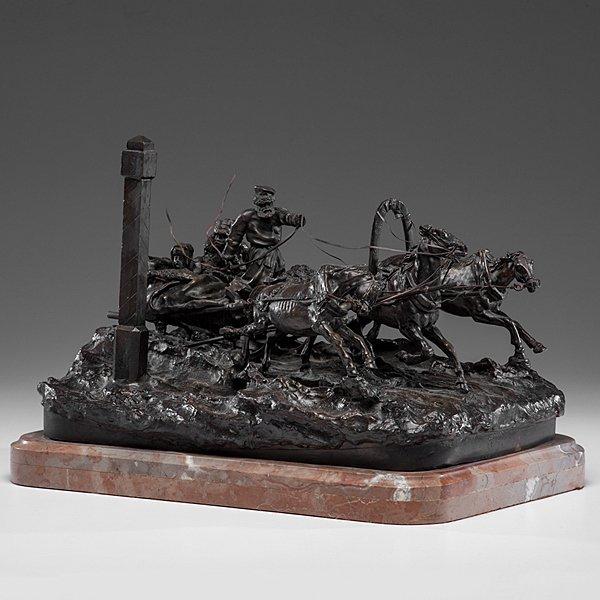 Russian Bronze Troika Scene After Vassily Gratchev