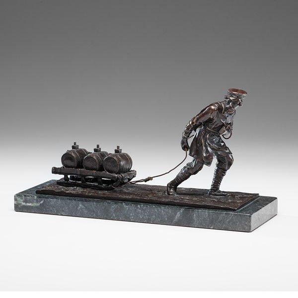 Russian Bronze Sled Scene After Vassily Gratchev
