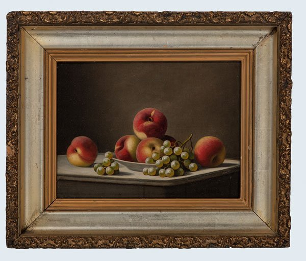 Still Life of Apples and Grapes by Barton S. Hays